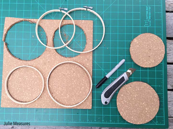 DIY Cork Embroidery Hoop Message Boards