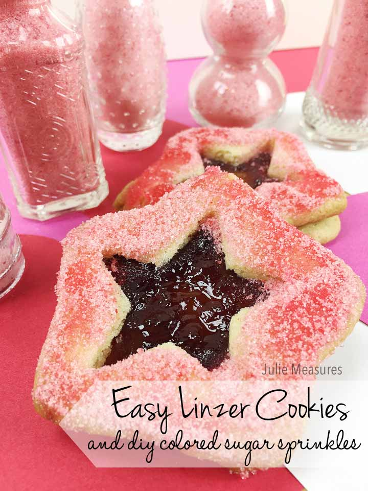 Easy Linzer Cookies and DIY Colored Sugar Sprinkles
