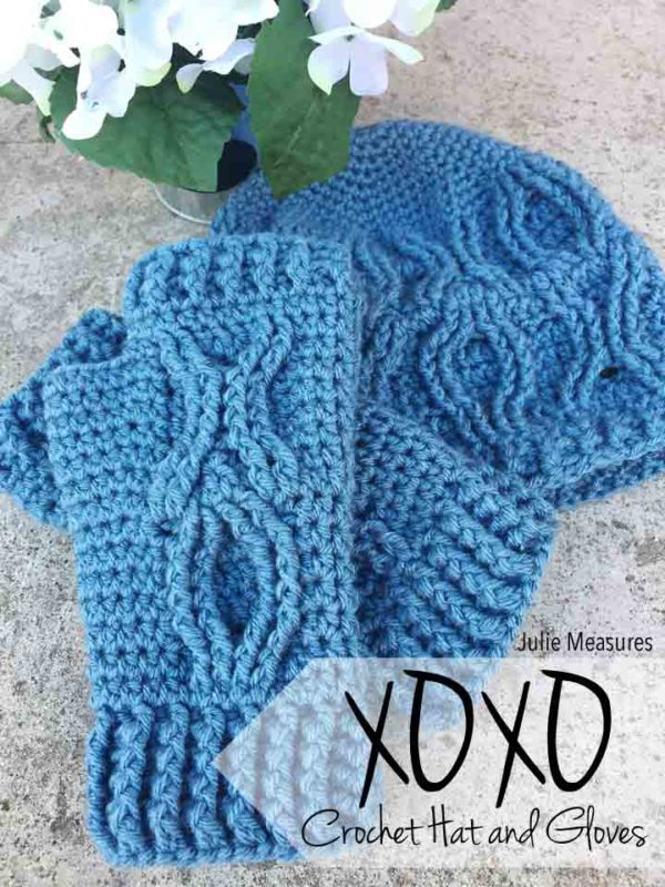 XOXO Crochet Hat and Gloves Pattern