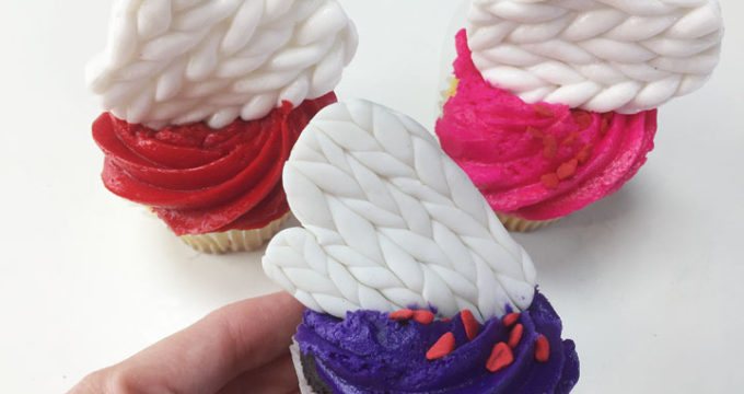 Knit Cupcakes with Fondant Mittens