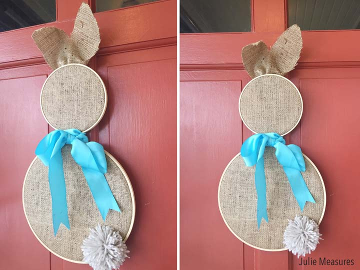 Burlap Bunny Easter Hoop Wreath