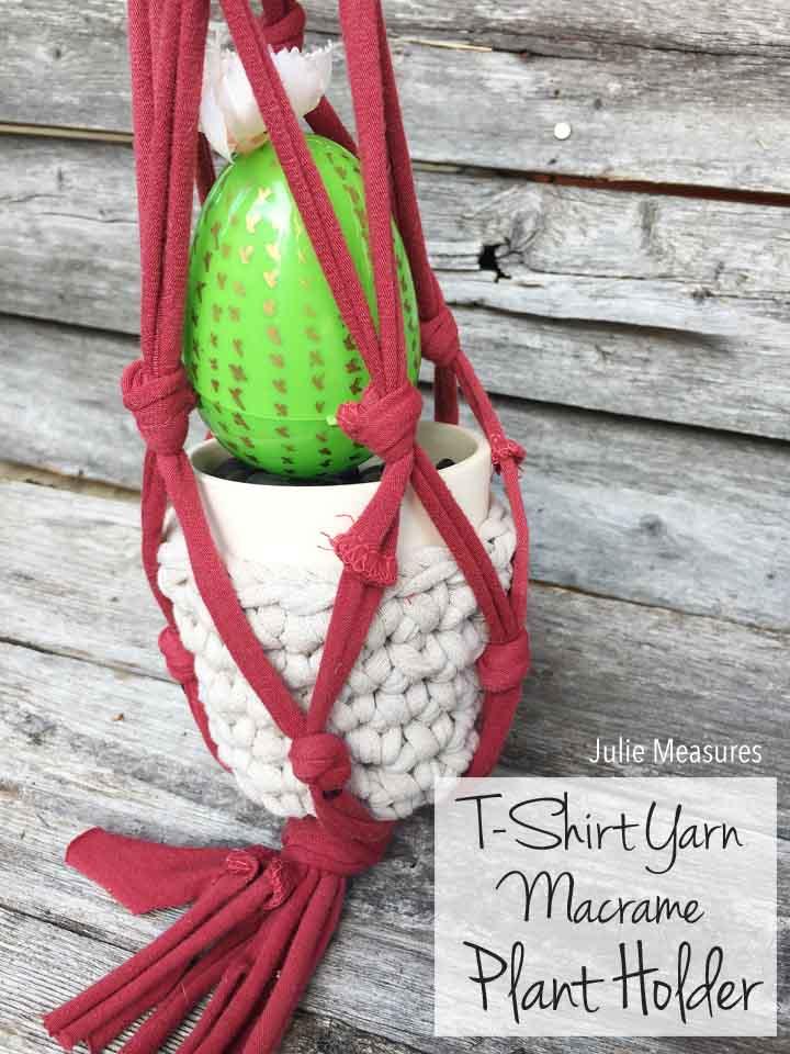 DIY T-Shirt Yarn Macrame Plant Holder
