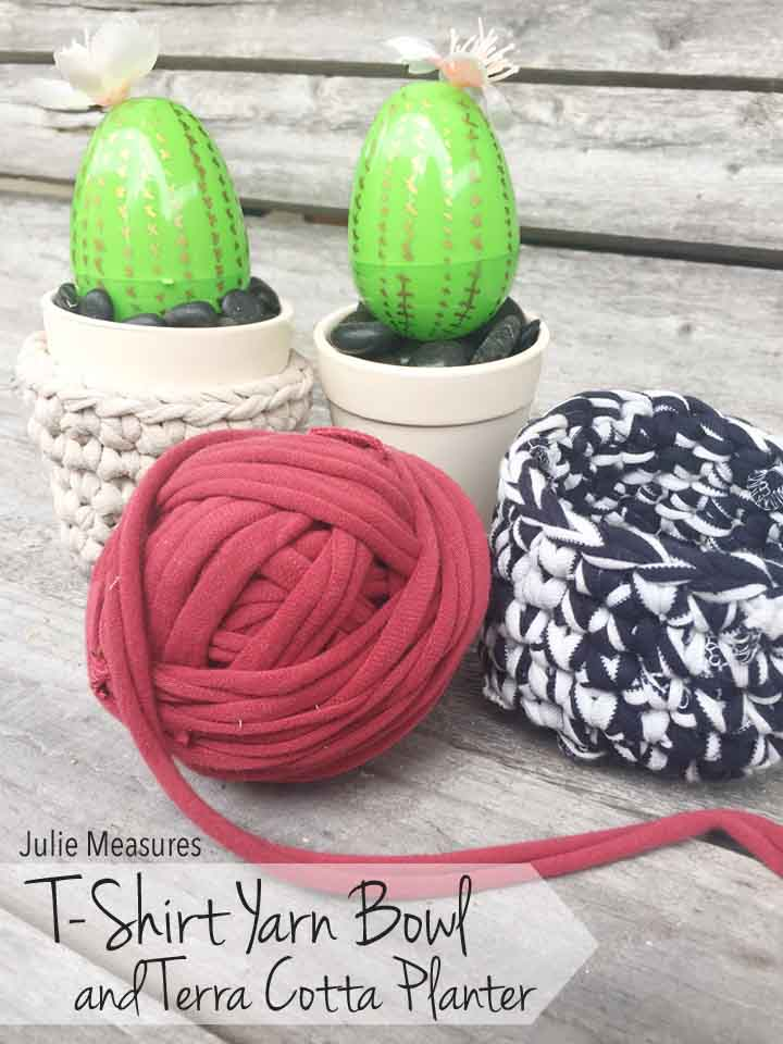 T-Shirt Yarn Bowl and DIY Succulents