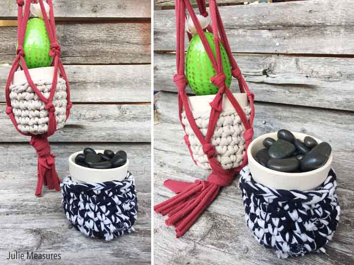 DIY T-Shirt Yarn Macrame Plant Holder
