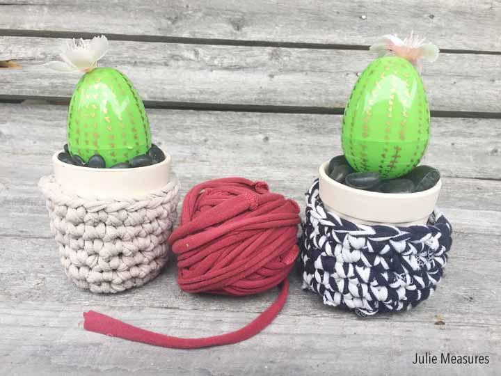 TShirt Yarn Bowl Plastic Egg Cactus