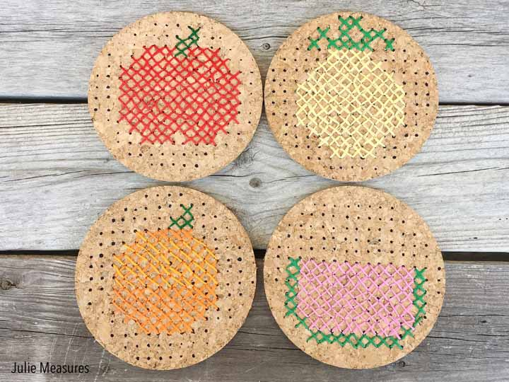 Cross Stitch Fruit Coasters