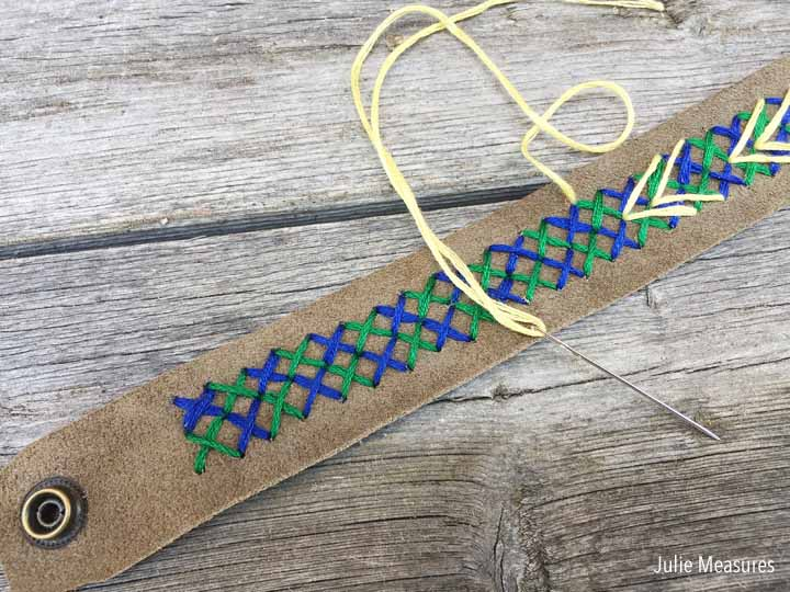 Cross Stitched Leather Cuff