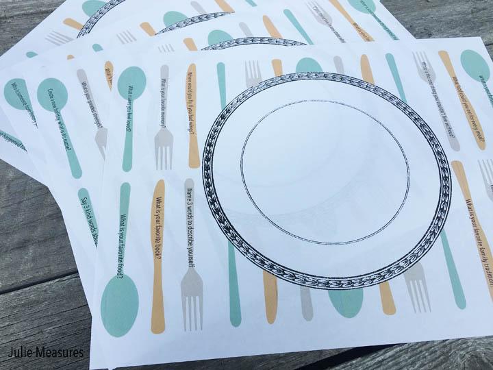 Dinner Conversation Starter Placemat & Conversation Starter Placemats Free Printable - Julie Measures