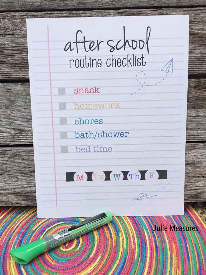After School Routine Checklist