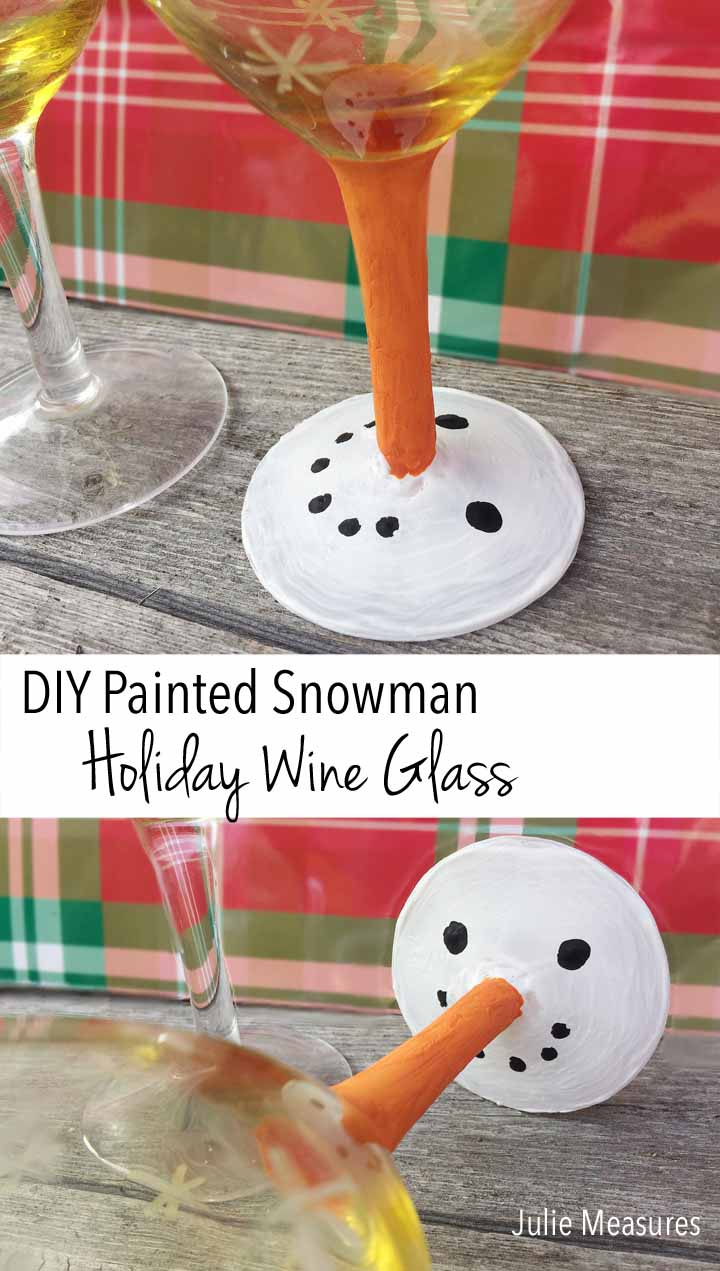 Snowman Painted Wine Glass