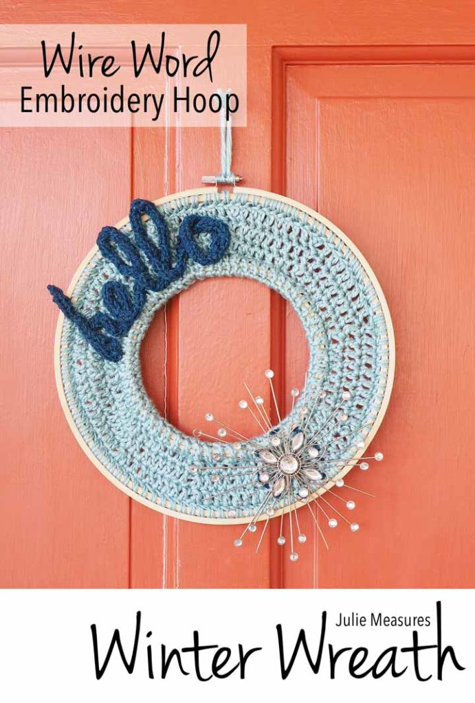 wire word embroidery hoop winter wreath