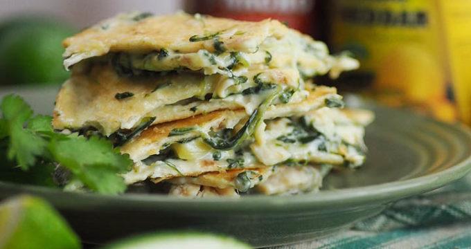 Queso Blanco Spinach and Artichoke Chicken Quesadillas
