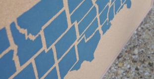 USA Map Painted Corkboard