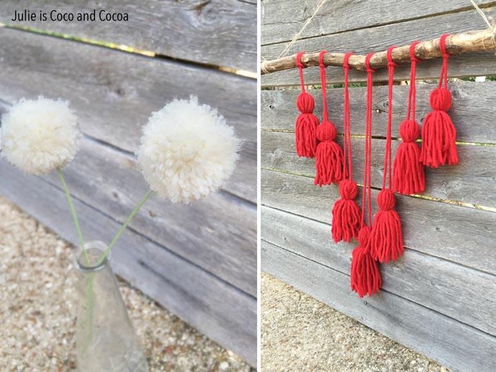 Easy Yarn Crafts: A Tassel Wall Hanging and Pom-Pom Flowers