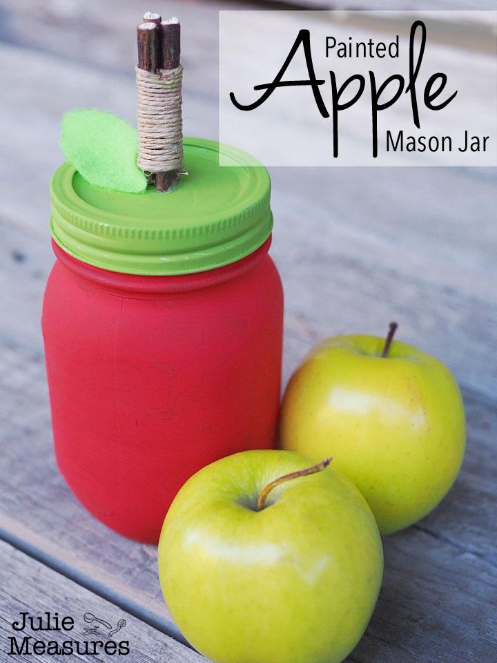 Painted Apple Mason Jar