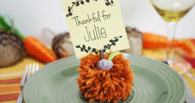 Pumpkin Pom-Pom Thanksgiving Name Cards