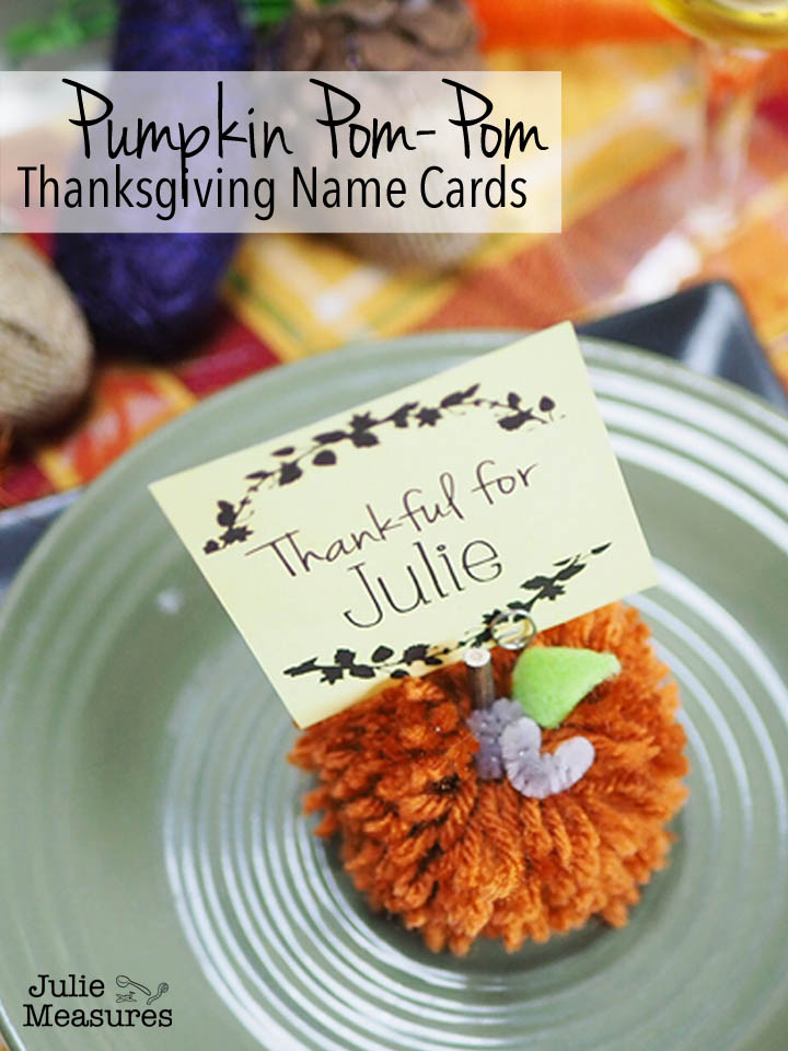 Pumpkin Pom-Pom Thanksgiving Name Cards