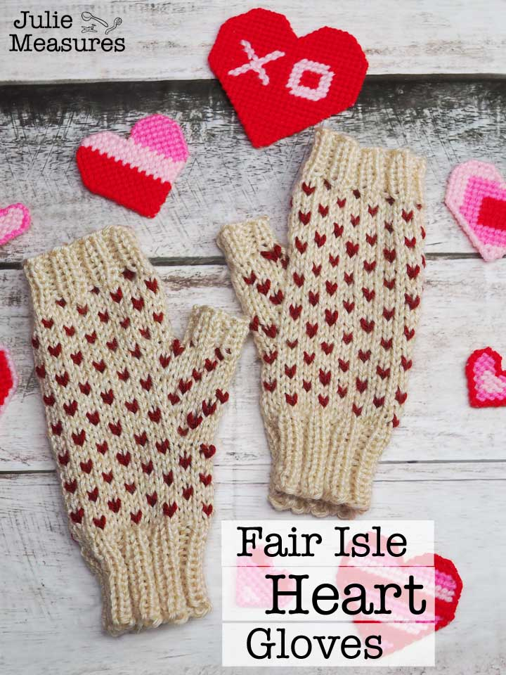 Fair isle heart gloves