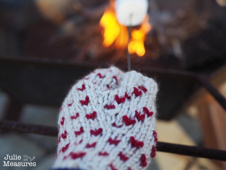 Fair isle heart fingerless mittens