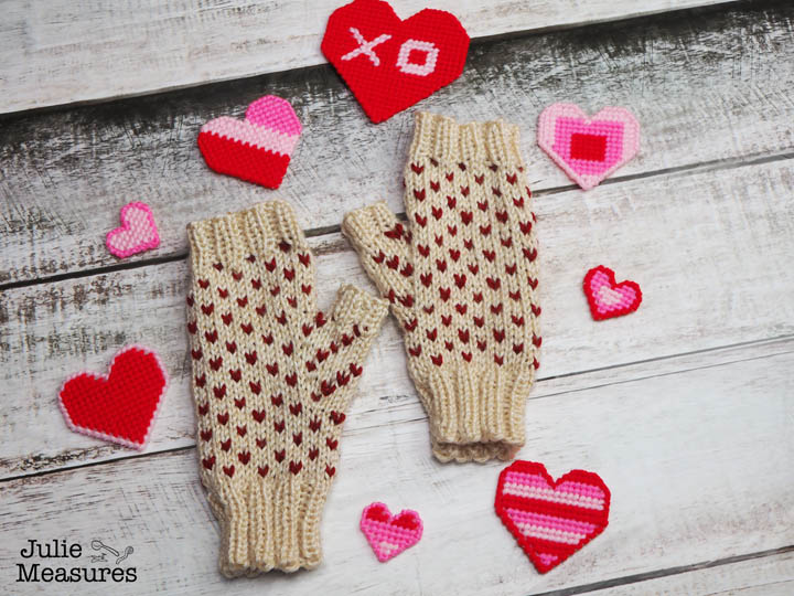 Fair isle heart fingerless gloves