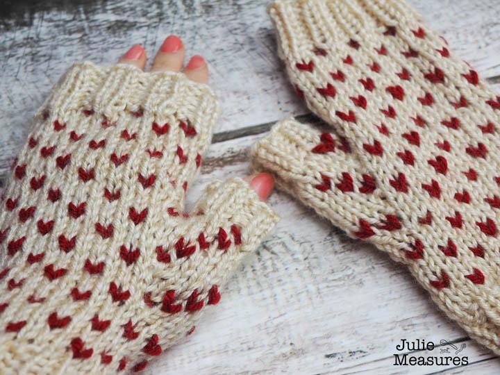 Fair isle heart mittens