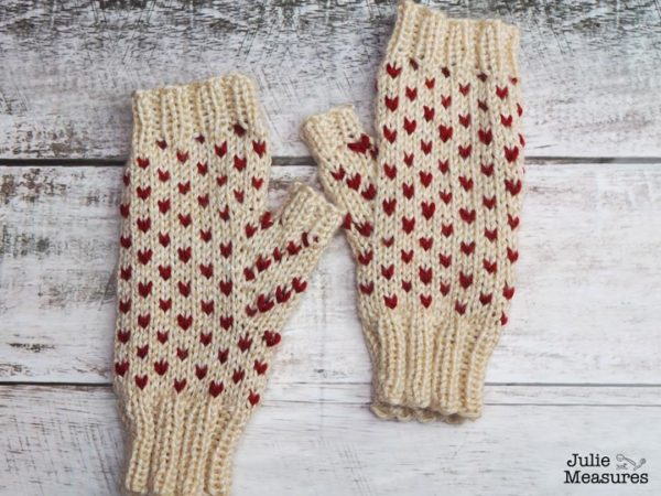 Fair isle heart fingerless mittens