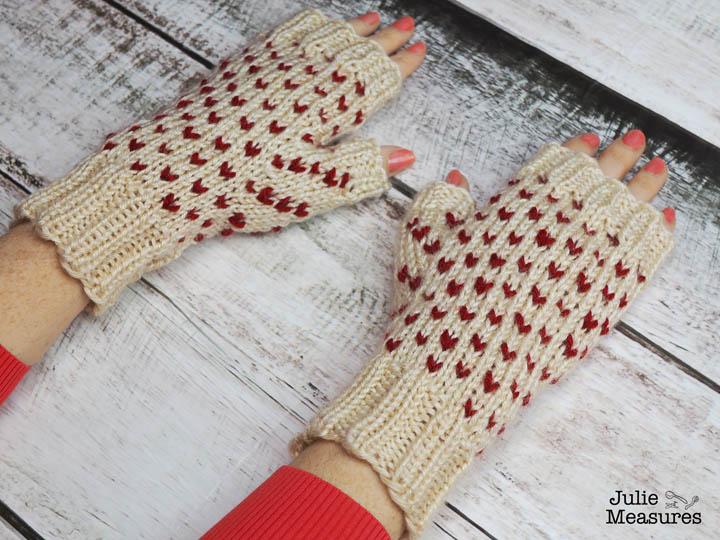 Fair isle heart gloves