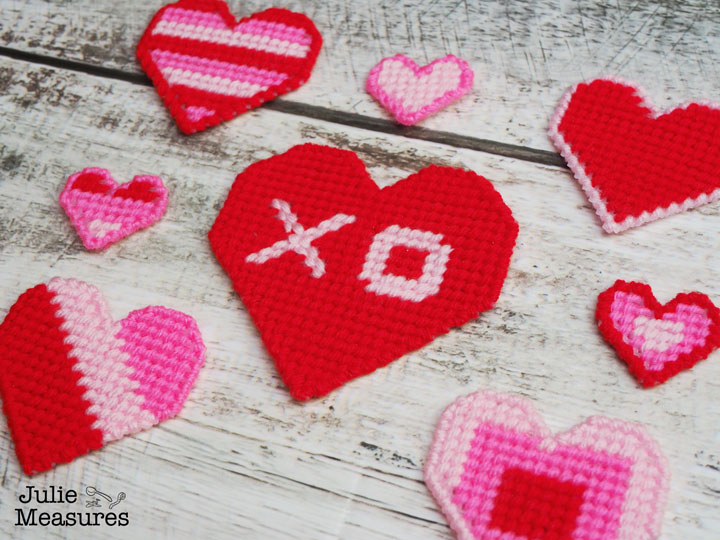 plastic canvas heart cross stitch