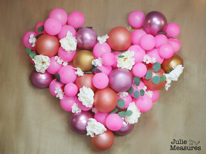 balloon heart floral wall