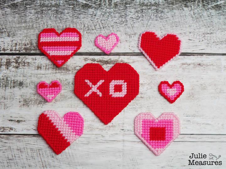 plastic canvas heart cross stitch