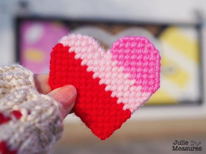 Valentines Day yarn bomb