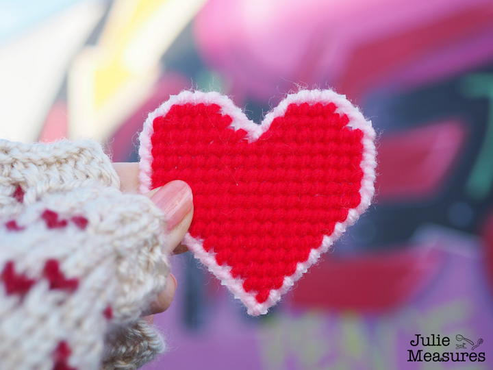 Valentines Day yarn bomb