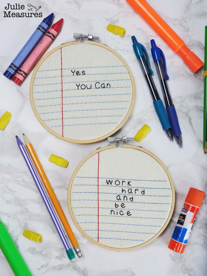 Notebook Paper Embroidery Hoop Craft