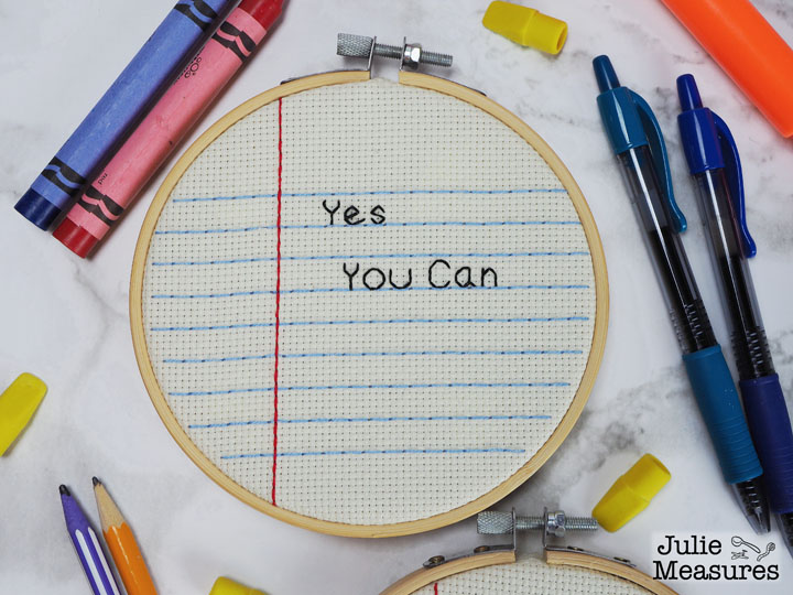 Yes You Can Notebook Paper Embroidery Hoop Craft