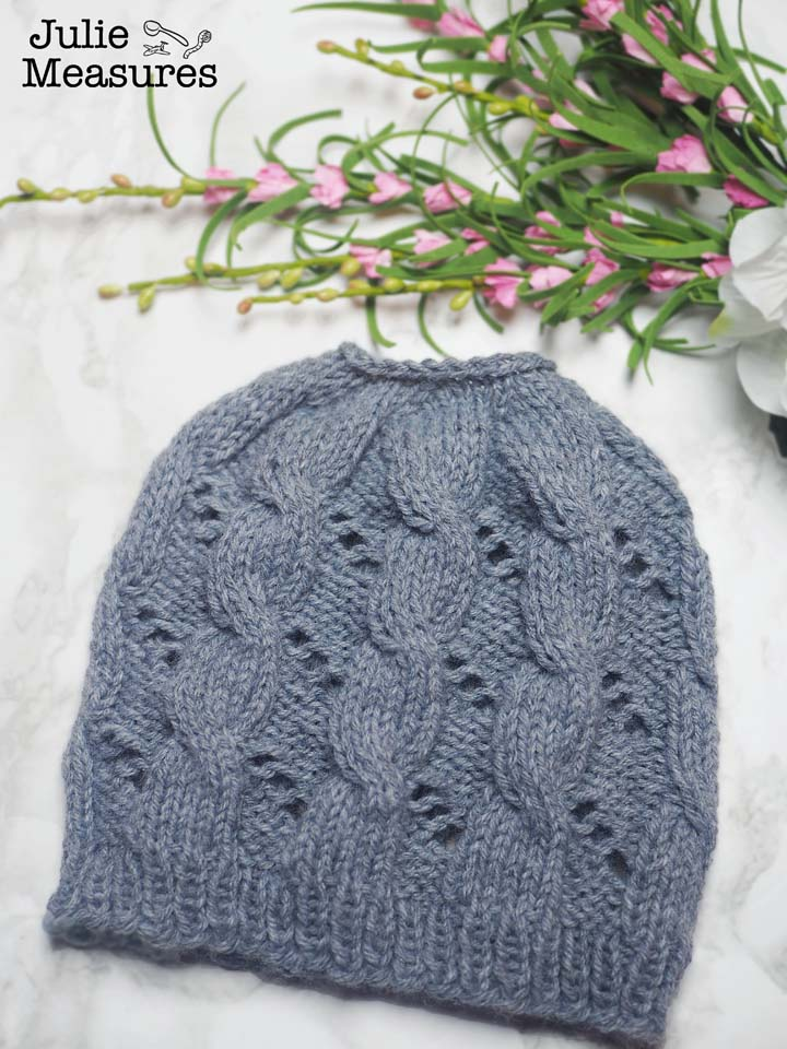 cable eyelet knit ponytail hat