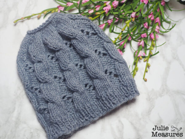 cable eyelet knit hat