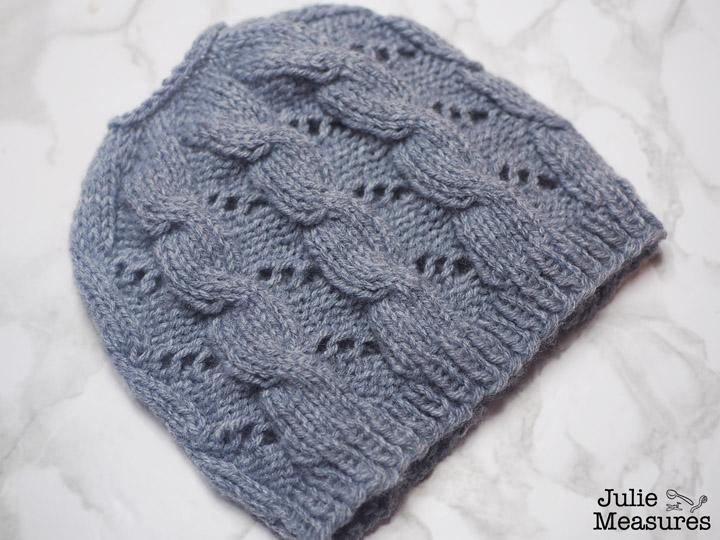 cable eyelet knit messy bun hat