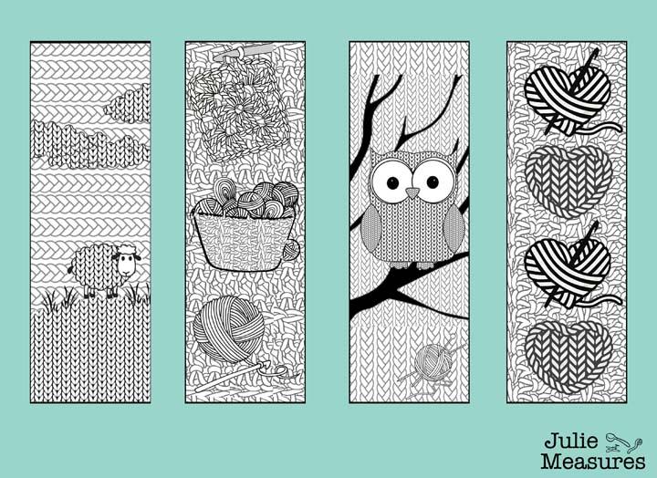 Printable Yarn themed Bookmarks