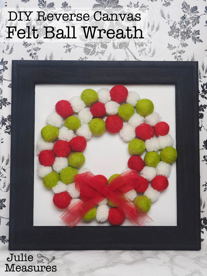 Christmas Felt Ball Wreath Reverse Canvas