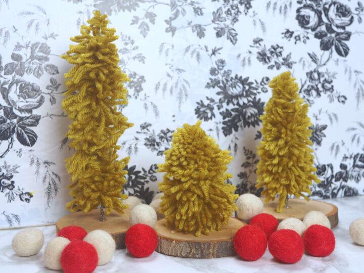 DIY Yarn Bottle Brush Tree