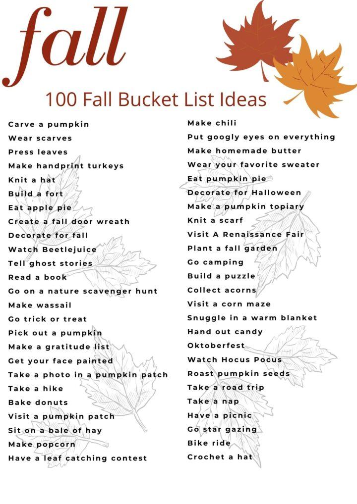 Fall Bucket List Ideas